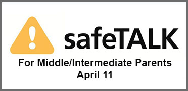safeTalk suicide alert skills training April 11, click here